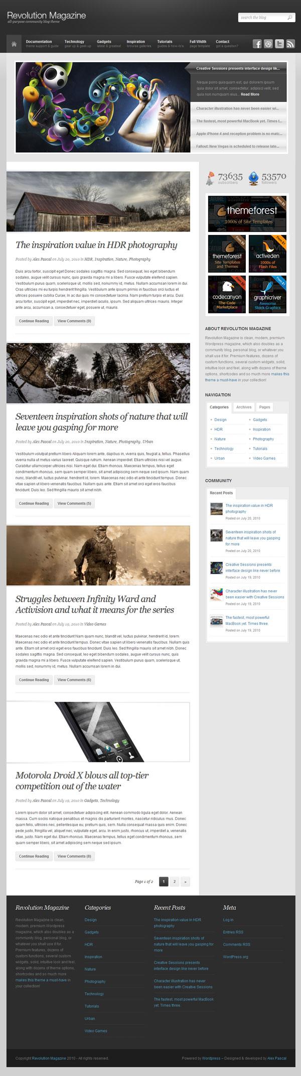 создать тему блога