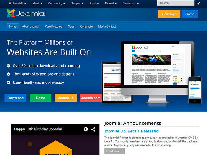 Возможности Joomla