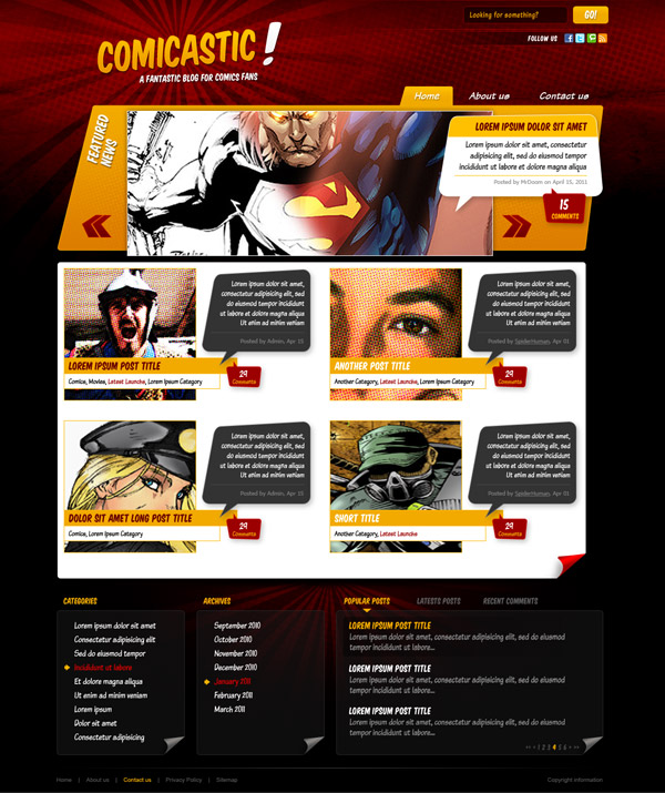 веб дизайн комикс