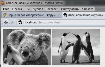 Создание черно-белого изображения из цветного
