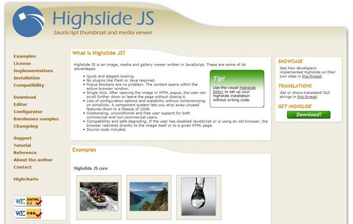 e8dbb23ec Для скачивания и установки данной библиотеки, давайте перейдем на  официальный сайт http://highslide.com/ и кликнем по ссылке Download:  JavaScript.