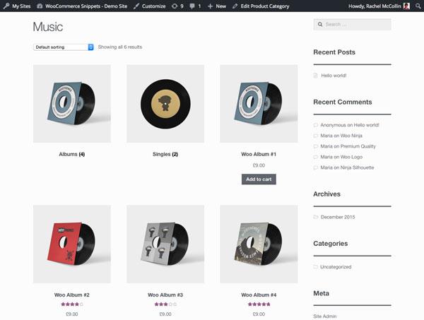 Отображение категорий, подкатегорий и товаров отдельными списками в WooCommerce