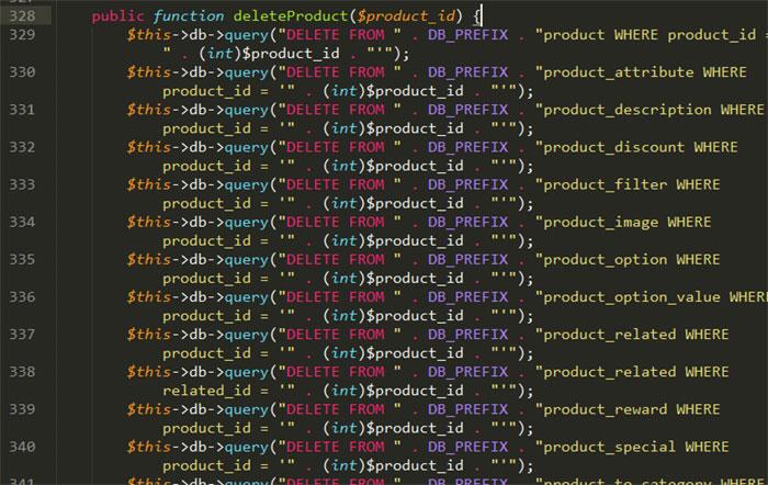 Как удалить все товары в OpenCart