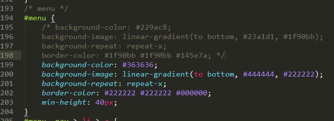 Как поменять цвет меню в OpenCart