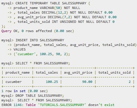 SQL — Временные таблицы